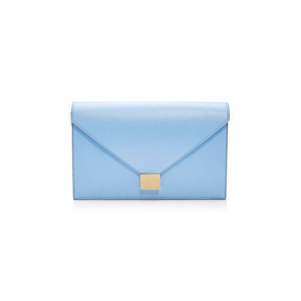 Victoria Beckham Envelope Clutch (331.260 HUF) via Polyvore featuring bags, handbags, clutches, blue, white clutches, victoria beckham handbags, envelope clutch bag, envelope clutch and chain strap handbags
