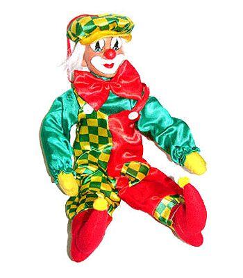 Carnaval decoratie clown van ongeveer 50 cm. Deze decoratieve clown is ongeveer 50 cm hoog en heeft de Limburgse carnavals kleuren groen, geel en rood.