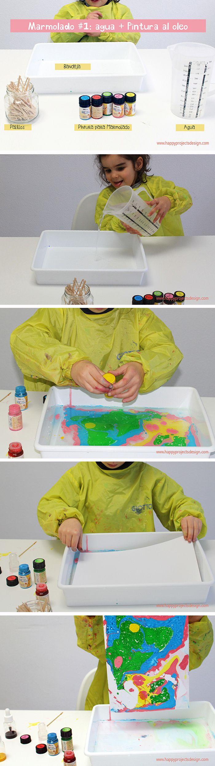 Técnica marmolado con niños #CreaKida #manualidadesconniños