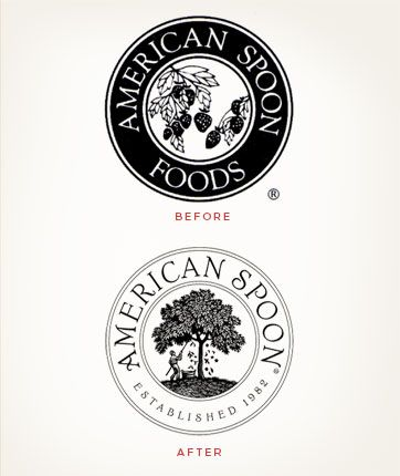 Louise Fili Ltd, American Spoon Foods #identity (Before & After)