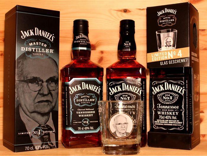 "Catawiki online auction house: 2 Limited Jack Daniel's Edition 'Jess Gamble"": 1. Master Distiller No. 4, 70cl (sold out) + 2. Jack Daniels No 7 with Glas ""Jess Gamble"", 70cl"