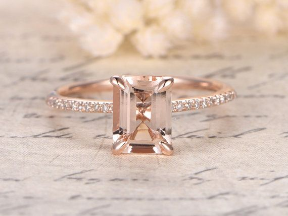7x9mm Emerald Cut Morganite Ring14K Rose Gold by kilarjewelry                                                                                                                                                                                 More