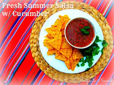 Real Food Fresh Summer Salsa with Cucumber is seriously delicious. The cucumber makes it so unique + refreshing. It's even delicious the next day too! Click here for the recipe. | Recipes to Nourish