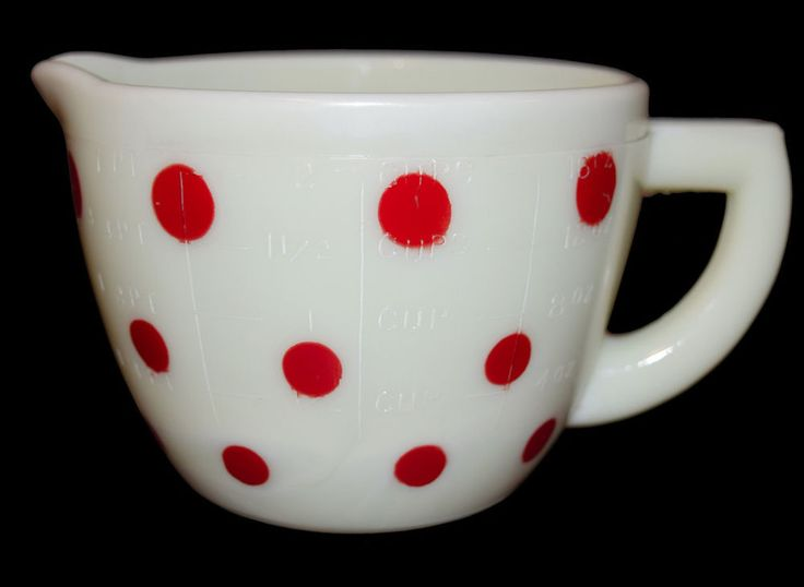 McKee Custard Red Polka Dot 2 Cup Measuring Cup - RARELY FOUND #McKee