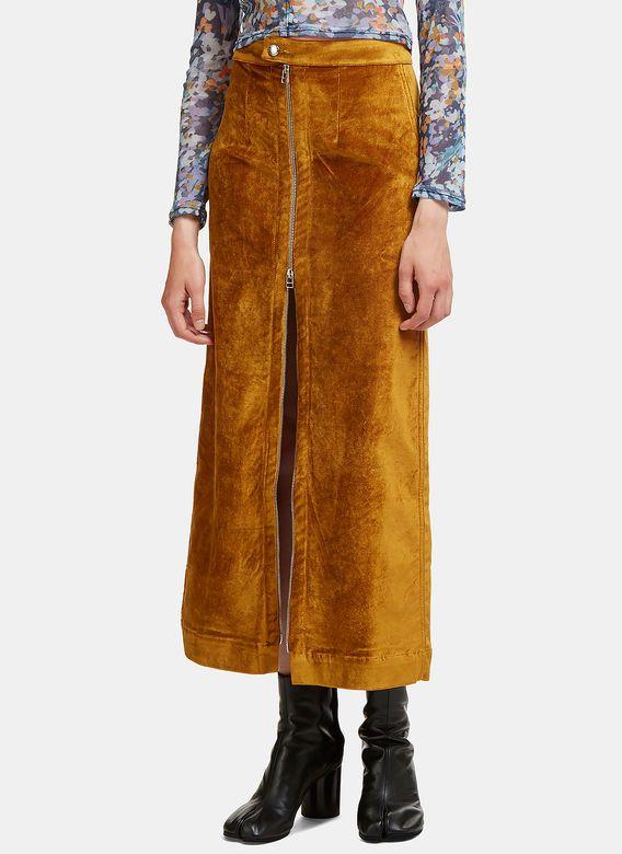 Women's Skirts - Clothing   Order Now at LN-CC - Metallic Velvet Zip-Up Skirt
