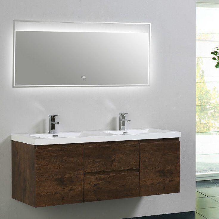 Lina 59 Wall Mounted Double Bathroom Vanity Set Bathroom