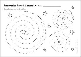 Fireworks pencil control worksheets (SB6276) - SparkleBox