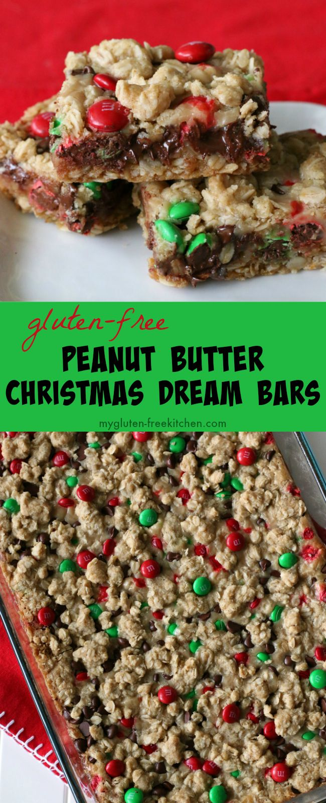 Gluten-free Peanut Butter Christmas Dream Bars recipe. Perfect for neighbor gifts and Santa's plate!