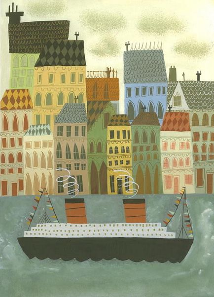 Matte Stephens - Arriving at Stockholm, Overlap & use of tinted color. Cut paper with some daubed color for waves and clouds.