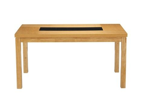 Lombok, 1.5m, dining table, oak, black inlets