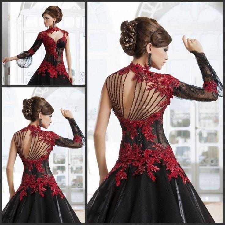 Günstige Viktorianischen Gothic Masquerade High Neck Ballkleid Schwarz Und Rot spitze Arabische Hochzeitskleid Mit…