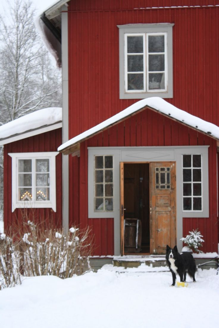 Traditionally red Swedish house in the country in wintertime