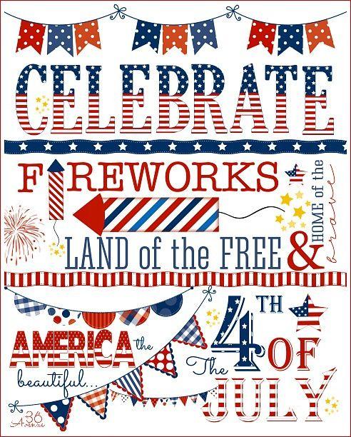 4th of july free subway art printable