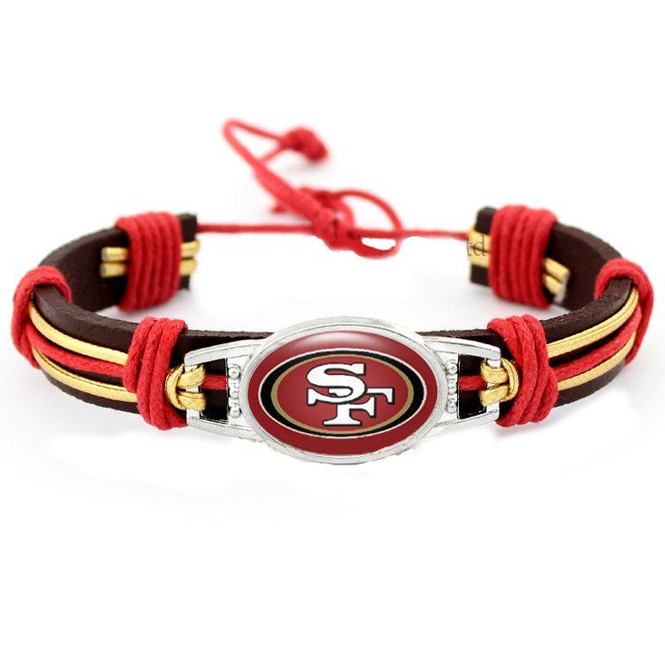 Genuine Leather Adjustable San Francisco 49ers Bangle Bracelet