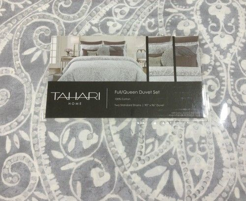 Tahari Gray White Silver Medallion 3pc Queen Duvet Set