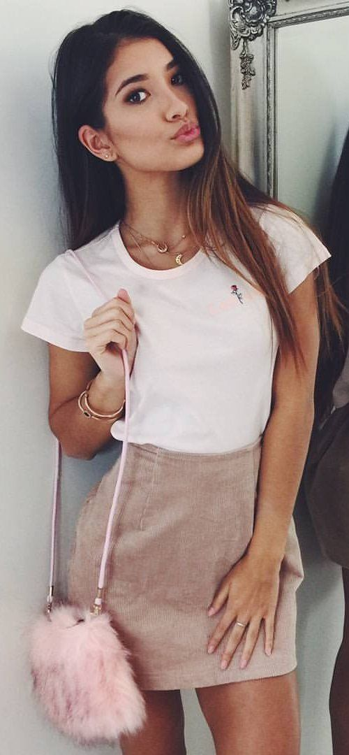 #summer #outfits  Pale Pink Tee + Brown Skirt