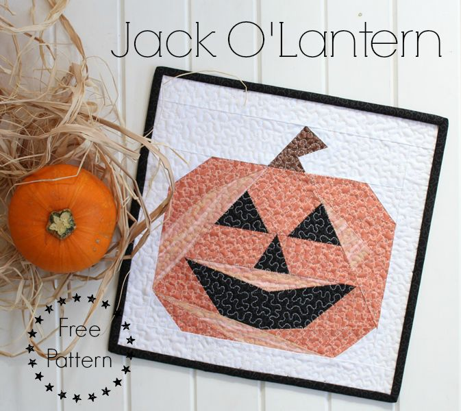 Threadbare Creations- Jack O'Lantern Free Mini Quilt