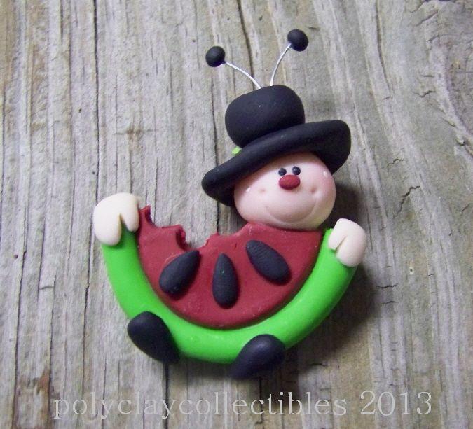 Mr Ladybug Eats Watermelon -Polymer Clay