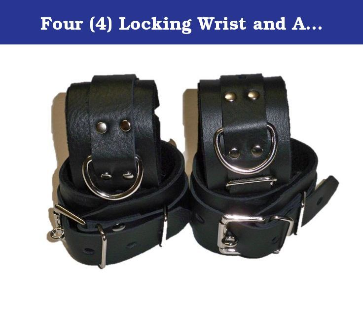 Four (4) Locking Wrist and Ankle Cuffs Restraint Restraints. LOCKING BLACK LEATHER SET OF 4 CUFF'S 2 WRIST & 2 ANKLE CUFF'S LOCKS NOT INCLUDED THIS CUFF SET IS MADE OF REAL 4-6 oz 2 pennies thick 100% COW LEATHER NOT LIKE SOME OF THE CHEAP IMPORTS OR NOVELTY STORE GRADE ITEMS OTHERS ARE OFFERING SIZES WRIST CUFF'S WILL FIT 5.5-10 INCH ANKLE CUFFS WILL FIT 9.5-12 INCH IF YOU NEED A LARGER OR SMALLER SIZE LET US KNOW. WE WILL RESIZE OUR CUFF'S TO FIT YOUR NEEDS AT NO EXTRA CHARGE NO HASSLE…