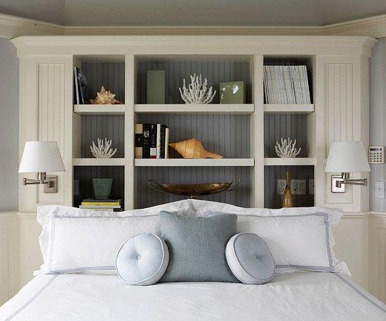 Shelf behind bed: Storage Headboards, Small Bedrooms, Bedrooms Storage, Built In, Bedrooms Design, Master Bedrooms, Beaches Houses, Bedrooms Decor, Bedrooms Ideas