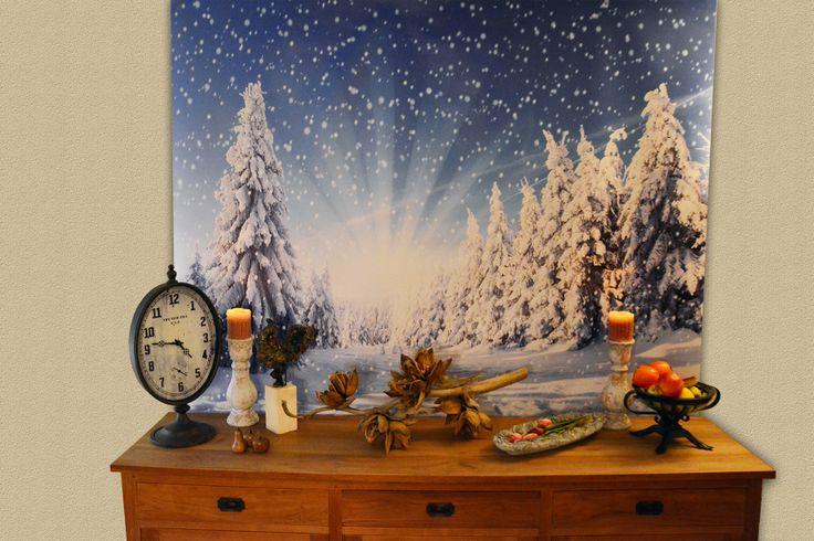 Mooi kerst sfeer doek voor aan de wand geprint op banner doek. Een gewoon schilderij is zooooo tweeduizenddertien.