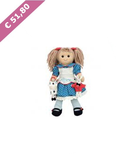 Bambola di pezza, capelli di lana e due bottoni come occhi; capace di emozionare piccoli e grandi.  Una bambola semplice ma speciale, che acquista bellezza con il tempo, non si rompe e non ha bisogno di batterie.  Prodotta con materiali naturali e resistenti di prima qualità.