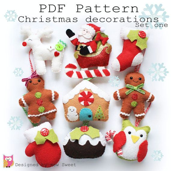 Christmas decorations set one PDF pattern sew your por sewsweetuk