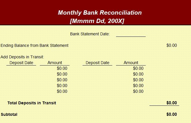 Microsoft Excel Bank Reconciliation Template Excel Spreadsheets Templates Reconciliation Statement Template