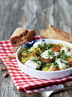 Kartoffelfad med torsk, tomat og fennikel | Magasinet Mad!