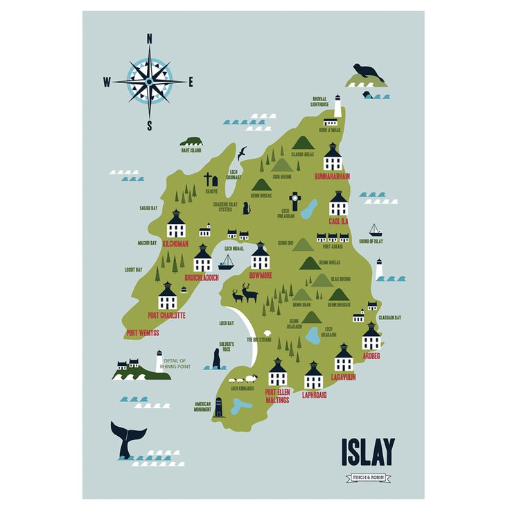 This is a high quality professional A3 digital print of an illustration of Islay, Queen of the Hebrides. It features the famous Whisky distilleries. Each skyline is printed onto FSC approved 230 gsm uncoated paper. Dimensions: 297 x 420 mm (A3)