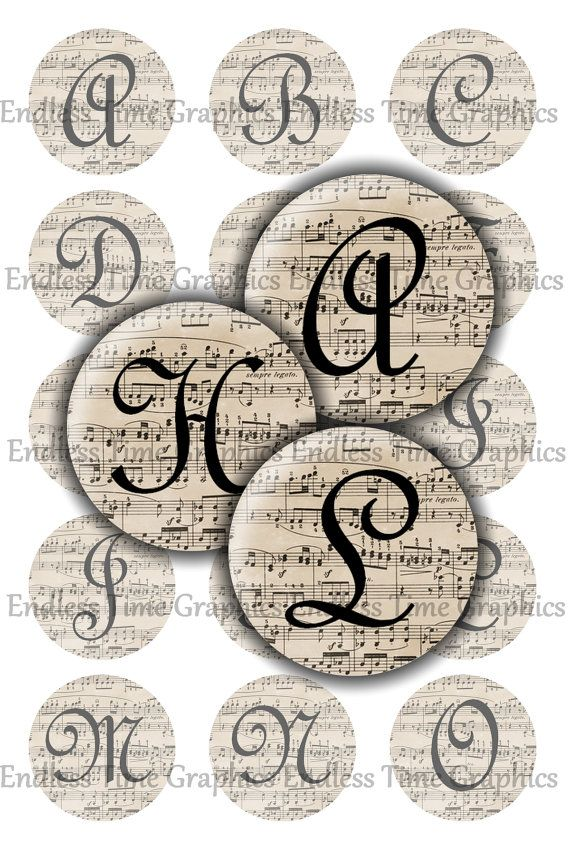 Music Bottle Cap Images DIGITAL Sheet Music by EndlessTimeGraphics