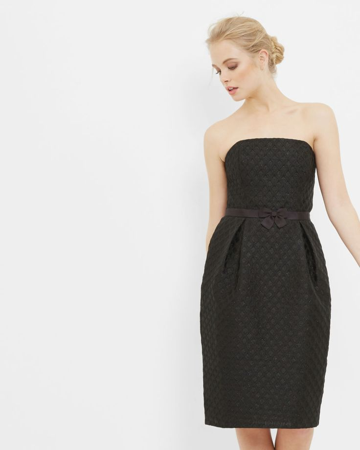 Textured strapless bow dress - Black | Outlet | Ted Baker ROW