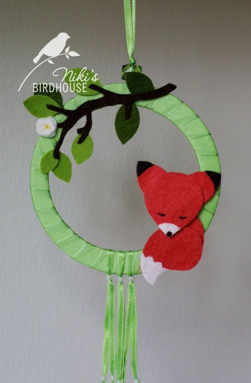 Door hanging with fox  wall art  READY TO SHIP by NikisBirdhouse, $15.00