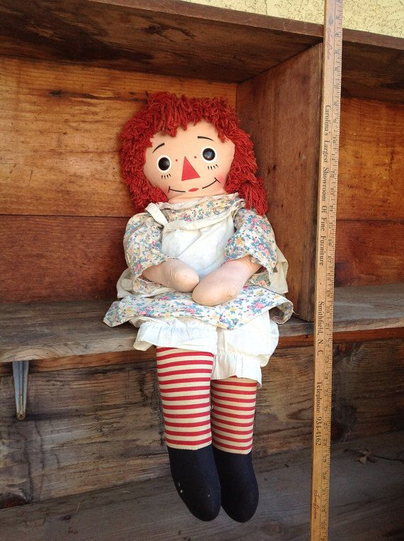 Vintage Raggedy Ann Doll Large Raggedy Ann by BetterThanBellows