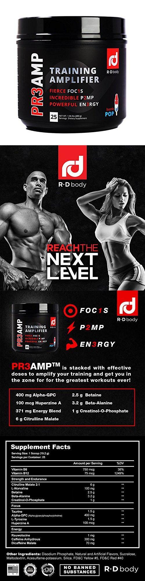 PR3AMP Pre Workout - The Best Pre Workout Supplement - Preworkout Training Amplifier - Orange Crush - R D Body Pre Workout (25 Servings) (Bomb Pop)