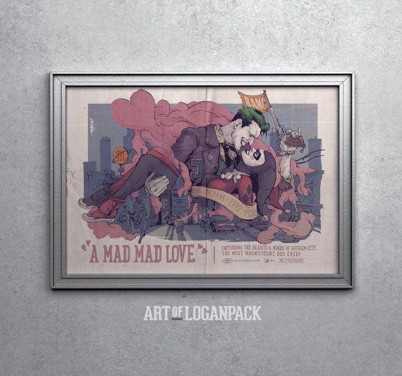 Ein MAD MAD LOVE  Joker und Harley Quinn von ARTofLOGANPACK auf Etsy