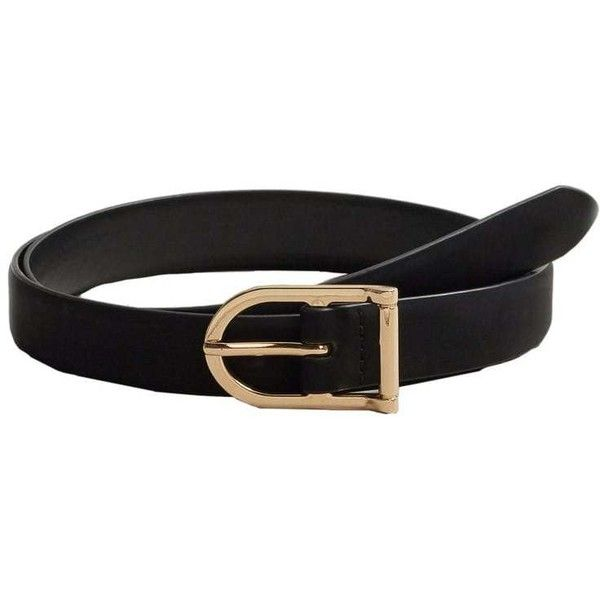 MANGO Faux-leather belt ($20) ❤ liked on Polyvore featuring accessories, belts, black, faux leather belt and vegan belts