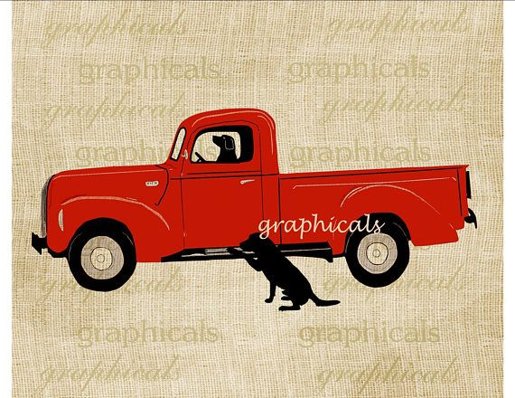 Red truck with black Labrador dogs instant clip art printable graphic. My original drawing of an old red truck instant digital download for graphic image transfer. Country decor. Farmhouse decor. 10% OFF $10 or more. Choose any image, any price, spend $10 or more and receive a 10%