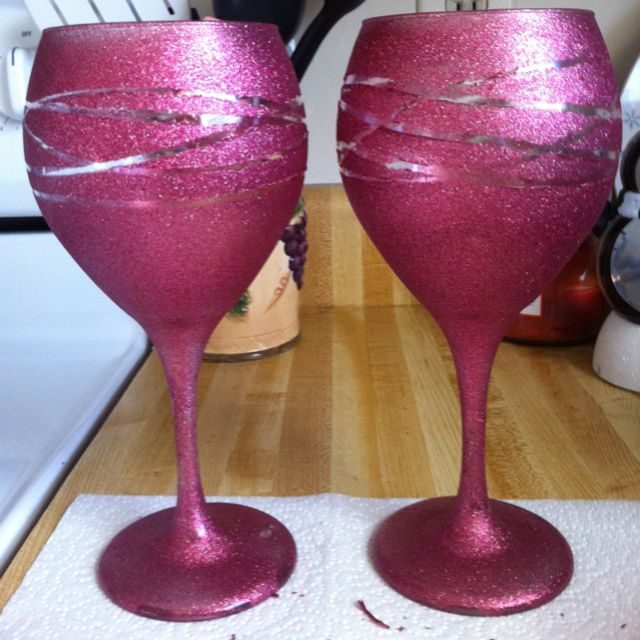 DIY Glitter Wine Glasses :) She loved them!!