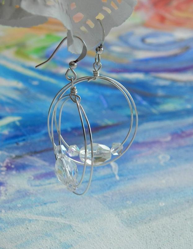 Crystal Wire Earrings - Телени обици с кристалчета Drátěné náušnice s krystaly-