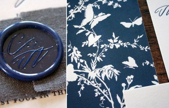 Cassie + Ariel's Navy and White Calligraphy Letterpress Wedding Invitations