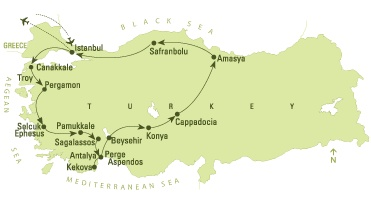 "Legends of Anatolia  This small group tour is particularly designed for travelers who want to make their trip ""special"" in every aspect.  Istanbul - Canakkale - Troy - Pergamum - Selcuk - Ephesus - Pamukkale - Sagalassos - Antalya - Kemer - Phaselis - Beysehir - Konya - Cappadocia - Hattusa - Amasya - Safranbolu - Istanbul"