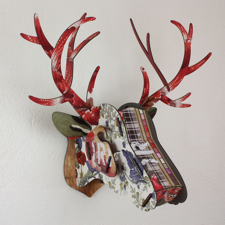 'Best Friend' deer / stag head from Juniper Hearth e-Emporium. Bold red antlers feature on red poppy print with a touch of tartan. Great gift for a best man or groomsmen. $145.