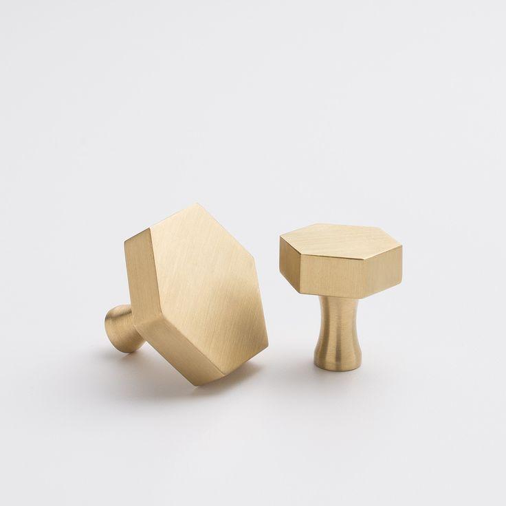 Hex Knob - Natural Brass | Cabinet Knobs | Hardware