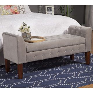 Shop for HomePop Dove Grey Velvet Settee-style Storage Bench. Get free shipping at Overstock.com - Your Online Furniture Outlet Store! Get 5% in rewards with Club O! - 16936706