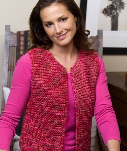 Easy Going Vest By Cynthia Yanok - Free Knitted Pattern - (redheart)