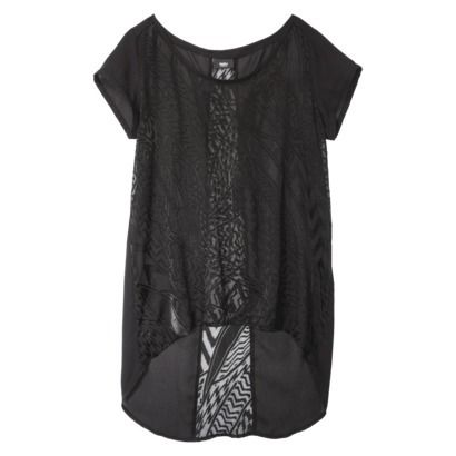 Mossimo® Women's Woven Burnout Tee - Black NOT true to size, buy at least one size up, as it's cut small through the bust and has no give. Gorgeous on, though.