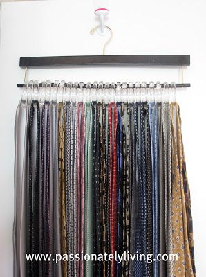 DIY Neck Ties & Scarf Hangers using a set of clear plastic shower curtain hooks that open on one end.