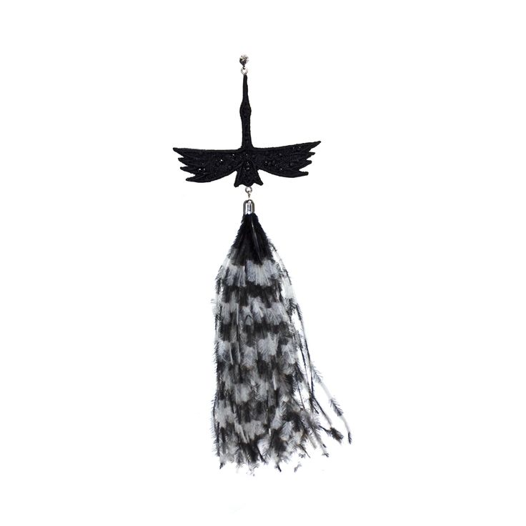 Black Cran Monoearring with feathers