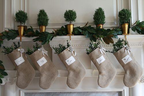 Burlap Christmas Stockings.: Burlap Christmas Stockings, Christmas Crafts, Holidays Ideas, Christmas Quotes, Holidays Decor, Burlap Stockings, Christmas Decor, Christmas Ideas, Christmas Mantles
